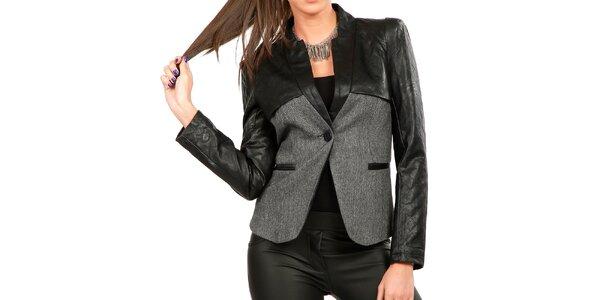 Dámske šedé sako s koženkovými rukávmi Isabel Queen
