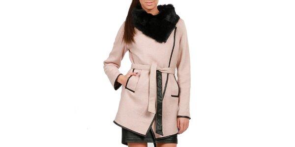 Dámsky púdrový kabát s kožušinkou Isabel Queen