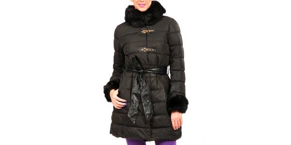 Dámsky čierny prešívaný kabátik s kožušinkou Isabel Queen