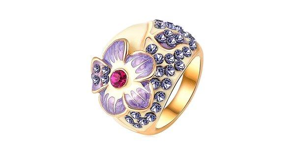 Dámsky pozlátený prsteň s kvetinou a kryštálikmi Victoria de Bastilla