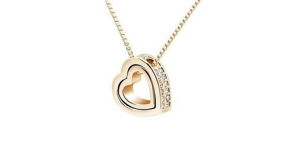 Dámsky pozlátený srdiečkový náhrdelník s kryštáľmi Victoria de Bastilla