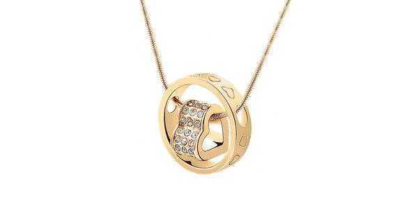 Dámsky pozlátený náhrdelník s krúžkom a srdiečkom zdobený kryštálikmi Victoria…