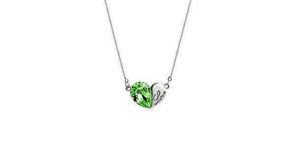 Dámsky náhrdelník so zeleným kryštálikom Victoria de Bastilla