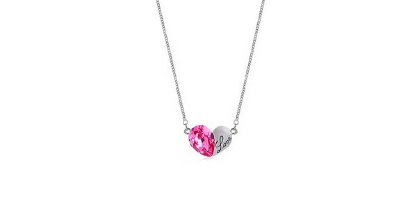 Dámsky náhrdelník s ružovým kryštálikom Victoria de Bastilla