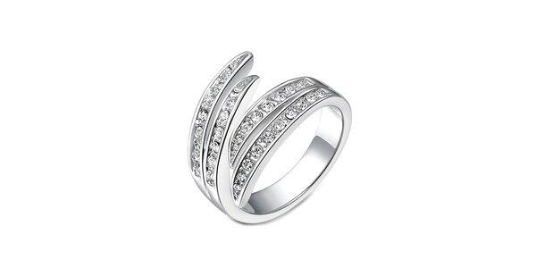 Dámsky prsteň striebornej farby s bielymi kryštálikmi Victori de Bastilla