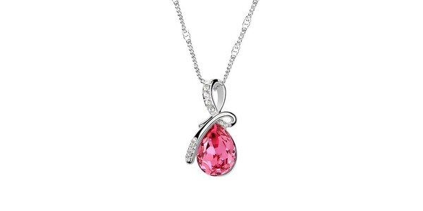 Dámsky náhrdelník s ružovým kryštálom a bielymi kamienkami Victoria de Bastilla