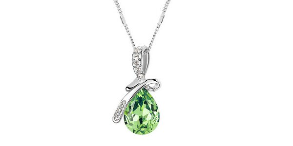 Dámsky náhrdelník so zeleným kryštálom a bielymi kamienkami Victoria de Bastilla