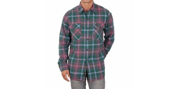 Pánska zelená košeľa s farebnými prúžkami Marlboro Classics