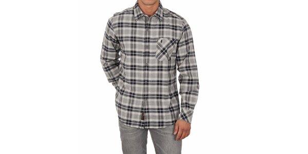 Pánska šedá kockovaná košeľa Marlboro Classics