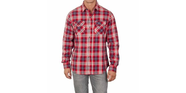 Pánska červená košeľa s farebnými prúžkami Marlboro