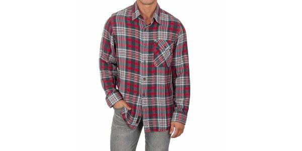 Pánska červeno-šedá košeľa s dlhým rukávom Marlboro Classics