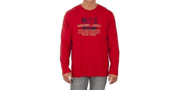 Pánske červené tričko s dlhým rukávom Marlboro Classics