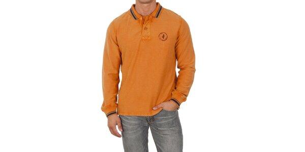 Pánske oranžové polo s dlhým rukávom Marlboro Classics