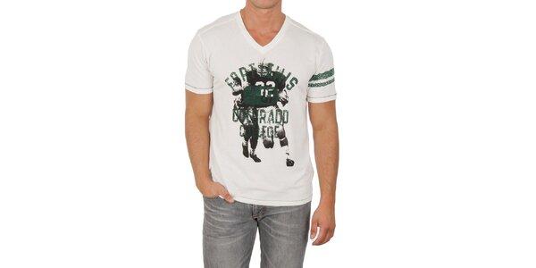 Pánske biele tričko s potlačou Marlboro Classics