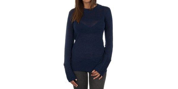 Dámsky tmavo modrý sveter s ozdobnými rukávmi Marlboro Classics