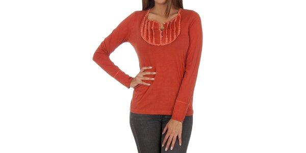 Dámske oranžové tričko s dekoratívnym výstrihom Marlboro Classics