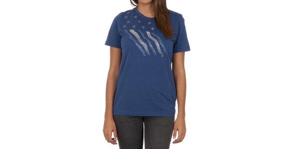 Dámske modré tričko s dekoratívnou aplikáciou Marlboro Classics