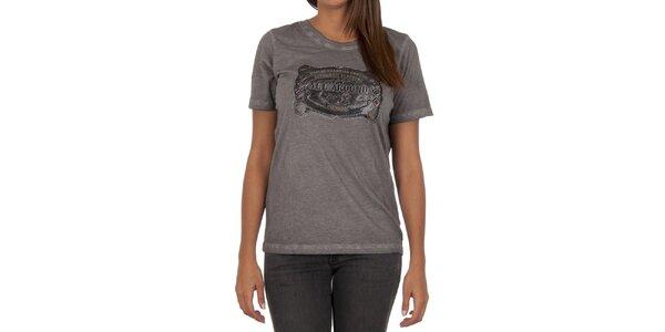 Dámske šedé tričko s krátkym rukávom a potlačou Marlboro Classics