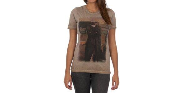 Dámske svetlo hnedé tričko s farebnou potlačou Marlboro Classics