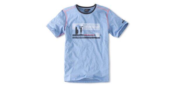 Pánske svetlo modré surferské tričko Brunotti s potlačou