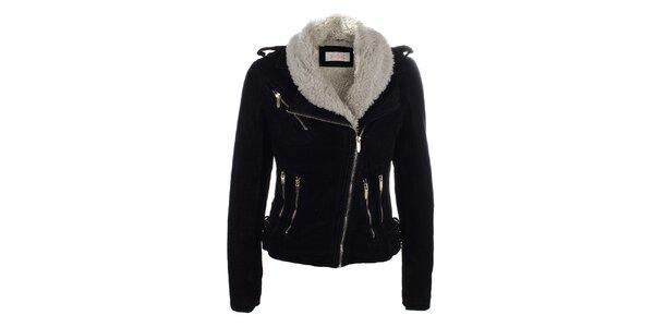 Dámska krátka čierna bunda s kožúškom Blue Deise