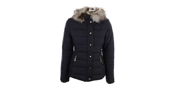 Dámska tmavomodrá zimná bunda s kapucňou Bilin