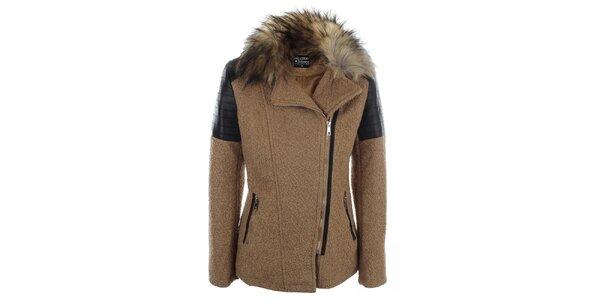 Dámsky svetlo hnedý krátky kabátik s kožúškovým golierom Mila Store