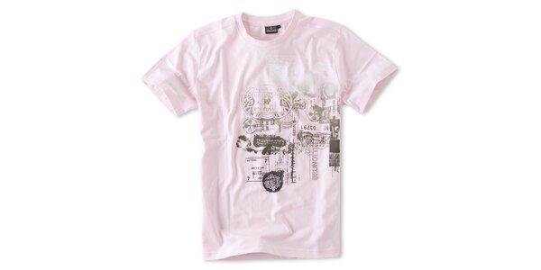 Pánske svetlo ružové tričko Brunotti s potlačou