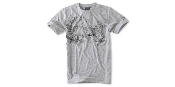 Pánske svetlo šedé melírované tričko Brunotti s potlačou
