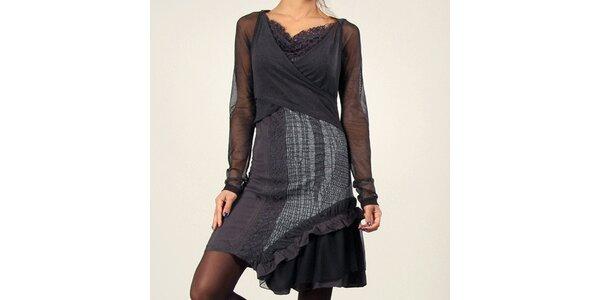 f4d600fb6b08 Dámske antracitové šaty s priehľadnými rukávmi Angels Never Die
