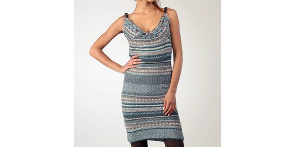 Dámske mohérové šaty v modrej farbe Angels Never Die