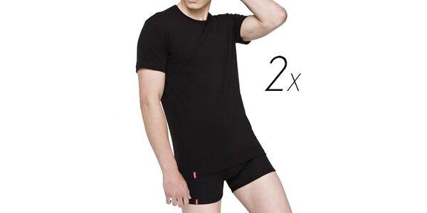 Set dvoch čiernych pánskych tričiek z bavlny Levi's