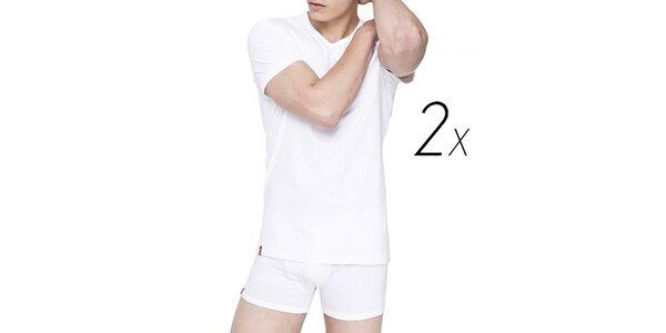 Set dvoch bielych pánskych tričiek z bavlny Levi's