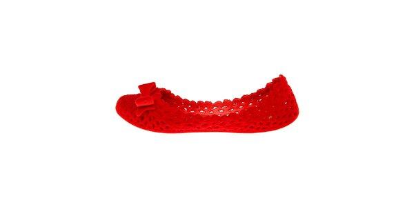 Dámske červené zamatové baleríny Mel s mašľou