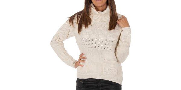 Dámsky biely vzorovaný sveter s vreckami Vero Moda