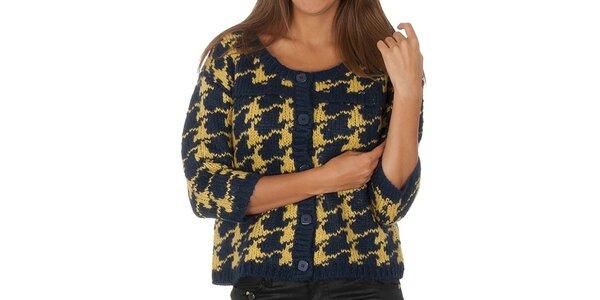 Dámsky modro-žltý vzorovaný sveter s gombíkmi Vero Moda