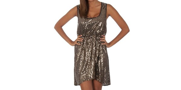 Dámske zlaté flitrové šaty Vero Moda