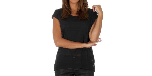 Dámske čierne tričko s transparentnou časťou Vero Moda