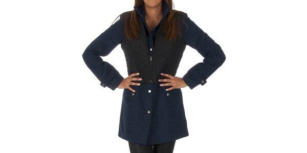 Dámsky tmavo modrý kabát s čiernou vestičkou Vero Moda