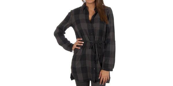 Dámska čierno-šedo kockovaná košeľa Vero Moda