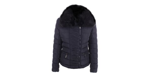 Dámska tmavo modrá bunda s veľkým golierom B.style