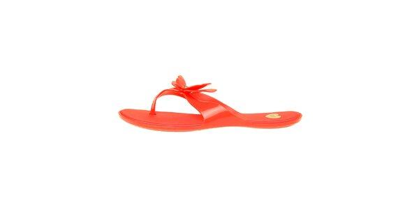 Dámske červené žabky Mel s motýlom