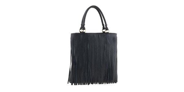 Dámska čierna kabelka so strapcami Valentina Italy