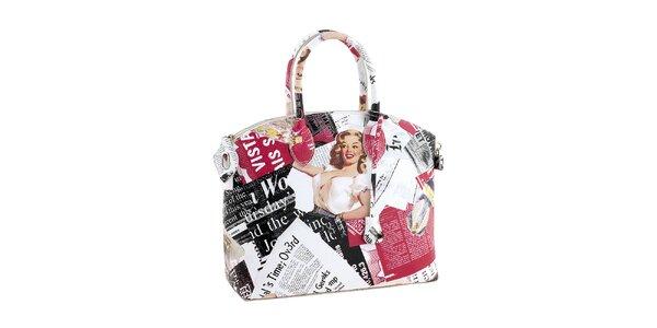 Dámska biela kabelka s farebnou potlačou Marilyn Valentina Italy