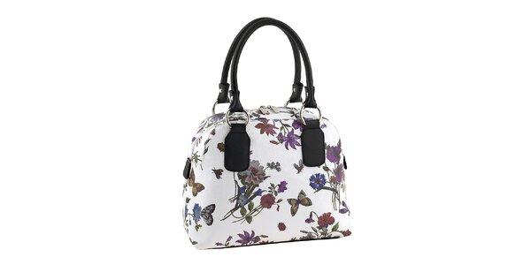 Dámska biela kabelka s kvetinovou potlačou Valentina Italy