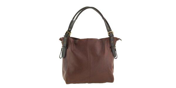 Dámska veľká hnedá kabelka z kože Valentina Italy