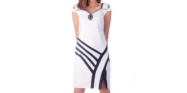 Dámske biele šaty s čiernymi detailmi Nelita