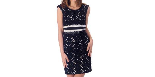 Dámske krémovo biele šaty s čiernou čipkou Nelita