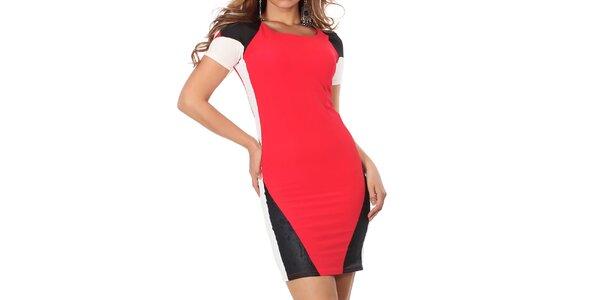 Dámske červeno-čierno-biele šaty Nelita