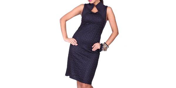 Dámske čierne šaty s límčekom Nelita